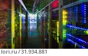 Купить «Colorful lights in server towers», видеоролик № 31934881, снято 26 марта 2019 г. (c) Wavebreak Media / Фотобанк Лори