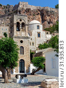 Купить «View of street fortified town Monemvasia (Laconia, Greece, Peloponnese)», фото № 31935813, снято 15 июня 2019 г. (c) Татьяна Ляпи / Фотобанк Лори