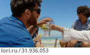 Купить «Group friends having fun at beach 4k», видеоролик № 31936053, снято 9 января 2019 г. (c) Wavebreak Media / Фотобанк Лори
