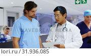 Купить «Medical team discussing over report 4k», видеоролик № 31936085, снято 26 января 2019 г. (c) Wavebreak Media / Фотобанк Лори
