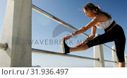 Купить «Beautiful Caucasian woman exercising on railing at beach 4k», видеоролик № 31936497, снято 24 января 2019 г. (c) Wavebreak Media / Фотобанк Лори