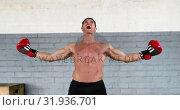 Купить «Male boxer hyping up 4k», видеоролик № 31936701, снято 25 апреля 2019 г. (c) Wavebreak Media / Фотобанк Лори