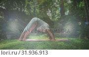 Купить «Woman doing yoga», видеоролик № 31936913, снято 5 апреля 2019 г. (c) Wavebreak Media / Фотобанк Лори