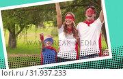 Happy family wearing superhero costumes. Стоковое видео, агентство Wavebreak Media / Фотобанк Лори