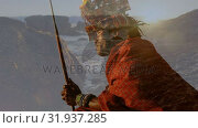 Native American man and view of the ocean during sunset. Стоковое видео, агентство Wavebreak Media / Фотобанк Лори