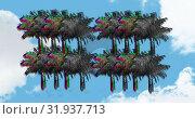 Купить «Colorful and monochrome static shaped as palm trees 4k», видеоролик № 31937713, снято 8 мая 2019 г. (c) Wavebreak Media / Фотобанк Лори