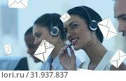 Купить «Call centre agents receiving mail», видеоролик № 31937837, снято 17 апреля 2019 г. (c) Wavebreak Media / Фотобанк Лори