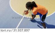 Купить «Basketball player playing basketball 4k», видеоролик № 31937897, снято 30 января 2019 г. (c) Wavebreak Media / Фотобанк Лори