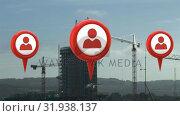 Купить «Profile icon and map pins», видеоролик № 31938137, снято 8 мая 2019 г. (c) Wavebreak Media / Фотобанк Лори