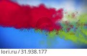 Купить «Red and green smoke in the sky», видеоролик № 31938177, снято 8 мая 2019 г. (c) Wavebreak Media / Фотобанк Лори