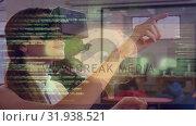 Купить «Woman waving her hands while wearing a virtual reality headset», видеоролик № 31938521, снято 25 апреля 2019 г. (c) Wavebreak Media / Фотобанк Лори