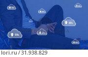 Купить «Upload in the digital cloud», видеоролик № 31938829, снято 14 мая 2019 г. (c) Wavebreak Media / Фотобанк Лори