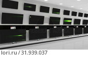 Купить «Flat screen TVs with green beams of light on their screens», видеоролик № 31939037, снято 25 апреля 2019 г. (c) Wavebreak Media / Фотобанк Лори