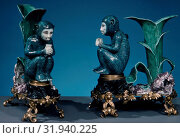 Купить «Monkey (one of a pair), ca. 1745, French, Villeroy, Soft-paste porcelain, Height: 9 in. (22.9 cm), Ceramics-Porcelain», фото № 31940225, снято 15 мая 2017 г. (c) age Fotostock / Фотобанк Лори