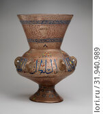 Mosque Lamp Bearing the Name of the Mamluk Sultan al-Malik al-Nasir, ca. 1340, Attributed to Syria, Glass, colorless with brown tinge, blown, applied blown... (2017 год). Редакционное фото, фотограф © Copyright Artokoloro Quint Lox Limited / age Fotostock / Фотобанк Лори