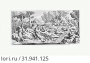 Hylas and the Water Nymphs, late 17th century, Engraving, sheet: 10 5/8 x 21 in. (27 x 53.4 cm), Prints, Pietro Santi Bartoli (Italian, Perugia 1615â€... (2017 год). Редакционное фото, фотограф © Copyright Artokoloro Quint Lox Limited / age Fotostock / Фотобанк Лори