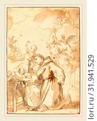 Luca Giordano, Italian (1634-1705), Saint Anthony of Padua, black chalk, with brown wash on laid paper (2014 год). Редакционное фото, фотограф Artokoloro / age Fotostock / Фотобанк Лори