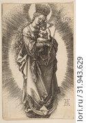 Купить «Virgin on the Crescent with Scepter and Starry Crown, 1516, Engraving, plate: 4 9/16 x 2 15/16 in. (11.6 x 7.4 cm), Prints, Albrecht Dürer (German, Nuremberg 1471–1528 Nuremberg)», фото № 31943629, снято 26 апреля 2017 г. (c) age Fotostock / Фотобанк Лори
