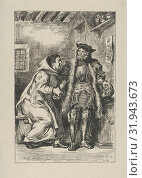 Goetz and Friar Martin, 1845, Wood engraving, proof before letters, Block: 8 9/16 x 5 11/16 in. (21.8 x 14.5 cm), Prints, Designed by Eugène Delacroix... (2017 год). Редакционное фото, фотограф © Copyright Artokoloro Quint Lox Limited / age Fotostock / Фотобанк Лори