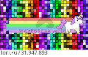 Купить «Unicorn with rainbow and bright lights», видеоролик № 31947893, снято 24 мая 2019 г. (c) Wavebreak Media / Фотобанк Лори