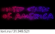 Купить «United States of America text 4k», видеоролик № 31949521, снято 24 мая 2019 г. (c) Wavebreak Media / Фотобанк Лори