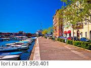 City of Rijeka Delta and Rjecina river view, waterfront architecture and Titos Galeb, Kvarner bay view. Стоковое фото, фотограф Zoonar.com/Dalibor Brlek / easy Fotostock / Фотобанк Лори