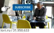 Купить «Businessman working on his laptop checking his social media 4k», видеоролик № 31950633, снято 24 мая 2019 г. (c) Wavebreak Media / Фотобанк Лори