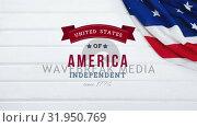 Купить «United States of America, Independent since 1776 text in banner», видеоролик № 31950769, снято 24 мая 2019 г. (c) Wavebreak Media / Фотобанк Лори