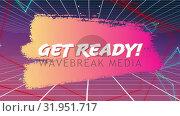 Купить «Get Ready screen on grid and pink and yellow background», видеоролик № 31951717, снято 13 июня 2019 г. (c) Wavebreak Media / Фотобанк Лори