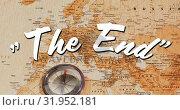 Купить «The End sign and world map», видеоролик № 31952181, снято 13 июня 2019 г. (c) Wavebreak Media / Фотобанк Лори