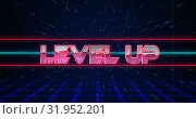 Купить «Retro Level Up text glitching over blue and red lines 4k», видеоролик № 31952201, снято 14 июня 2019 г. (c) Wavebreak Media / Фотобанк Лори