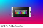 Купить «Rainbow coloured bar chart displayed on smartphone», видеоролик № 31952669, снято 13 июня 2019 г. (c) Wavebreak Media / Фотобанк Лори