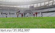 Купить «Rugby players playing rugby match in stadium 4k», видеоролик № 31952997, снято 9 мая 2019 г. (c) Wavebreak Media / Фотобанк Лори