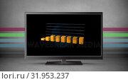 Купить «Flat screen television with graphs on its screen», видеоролик № 31953237, снято 13 июня 2019 г. (c) Wavebreak Media / Фотобанк Лори