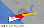 Купить «Colourful geometric shapes on blue and grey background», видеоролик № 31953545, снято 8 июля 2019 г. (c) Wavebreak Media / Фотобанк Лори