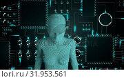 Купить «Female android form in front of glowing computer circuit board», видеоролик № 31953561, снято 8 июля 2019 г. (c) Wavebreak Media / Фотобанк Лори