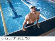 Купить «Swimmer in a pool», фото № 31953753, снято 24 марта 2019 г. (c) Wavebreak Media / Фотобанк Лори