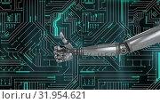 Купить «Robot hand thumbs up and blue glowing circuit board», видеоролик № 31954621, снято 5 июля 2019 г. (c) Wavebreak Media / Фотобанк Лори