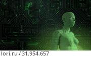 Купить «Female android form in front of glowing computer circuit board», видеоролик № 31954657, снято 8 июля 2019 г. (c) Wavebreak Media / Фотобанк Лори