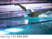 Купить «Swimmer in a pool», фото № 31954805, снято 24 марта 2019 г. (c) Wavebreak Media / Фотобанк Лори