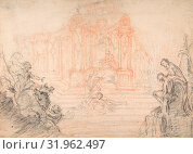 Study for a Festival Machine, 18th century, Black and red chalk, rubbed at top, and watermark traced in graphite on verso, 12 9/16 x 17 9/16 in. (31.9... (2017 год). Редакционное фото, фотограф © Copyright Artokoloro Quint Lox Limited / age Fotostock / Фотобанк Лори