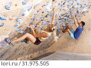 Couple of climbers on joint workout. Стоковое фото, фотограф Яков Филимонов / Фотобанк Лори