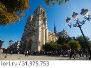 Купить «Cathedral of Notre-Dame, Paris», фото № 31975753, снято 10 октября 2018 г. (c) Яков Филимонов / Фотобанк Лори