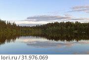 Купить «Beautiful sunset on Talvijarvi Lake in Ruka, Lapland, Finland. Summer night», фото № 31976069, снято 3 июля 2019 г. (c) Валерия Попова / Фотобанк Лори