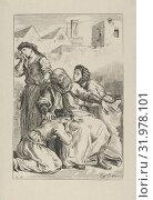 Death of Goetz von Berlichingen, 1845, Wood engraving, proof before letters, Block: 8 9/16 x 5 3/4 in. (21.8 x 14.6 cm), Prints, Eugène Delacroix (French... (2017 год). Редакционное фото, фотограф © Copyright Artokoloro Quint Lox Limited / age Fotostock / Фотобанк Лори
