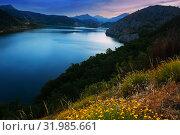 Купить «mountains reservoir in summer twilight», фото № 31985661, снято 28 мая 2020 г. (c) Яков Филимонов / Фотобанк Лори