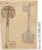 Two Keys, second half 19th century, Graphite and ink on tracing paper, sheet: 5 1/4 x 3 15/16 in. (13.4 x 10 cm), Anonymous, British, 19th century (2017 год). Редакционное фото, фотограф © Copyright Artokoloro Quint Lox Limited / age Fotostock / Фотобанк Лори