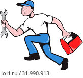 Купить «Illustration of a mechanic repairman worker with spanner and toolbox running viewed from side done in cartoon style on isolated background», фото № 31990913, снято 5 июля 2020 г. (c) easy Fotostock / Фотобанк Лори