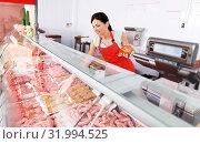 Купить «woman seller showing different sausages», фото № 31994525, снято 22 июня 2018 г. (c) Яков Филимонов / Фотобанк Лори