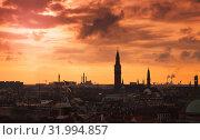 Купить «Dark silhouette skyline of Copenhagen city», фото № 31994857, снято 10 декабря 2017 г. (c) EugeneSergeev / Фотобанк Лори
